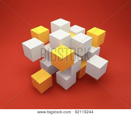 Abstract background consisting of white cubes