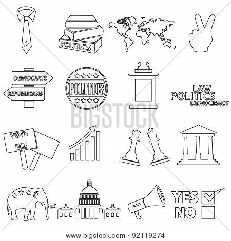 Politics Black Simple Outline Icons Set Eps10