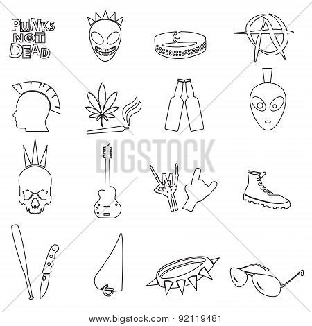 Various Black Punk Outline Icons Set Eps10