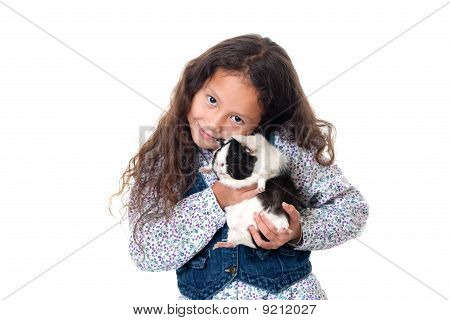 Pretty Girl With Guinea Pig