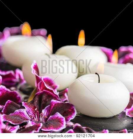 Beautiful Spa Still Life Of Blooming Dark Purple Geranium Flower, Beads And Candles In Reflection Wa