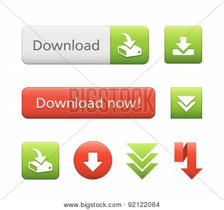 Red and Green Vector Download Buttons