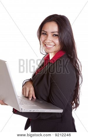 Business Woman Laptop Smiling