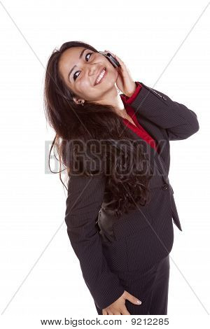 Business Woman On Phone Head Back Smiling