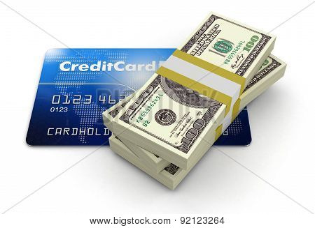 Credit Card and Dollars (clipping path included)