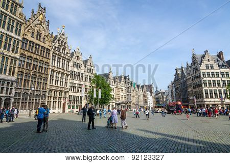 Antwerp, Belgium - May 10, 2015: Tourist Visit The Grand Place (grote Markt) In Antwerp.