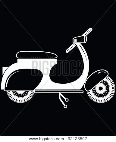 Vintage scooter type 2 in black and white on black background