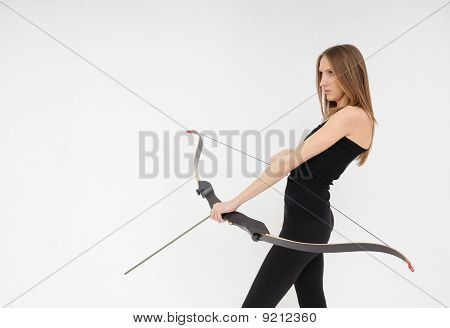 Woman Shooting With Bow