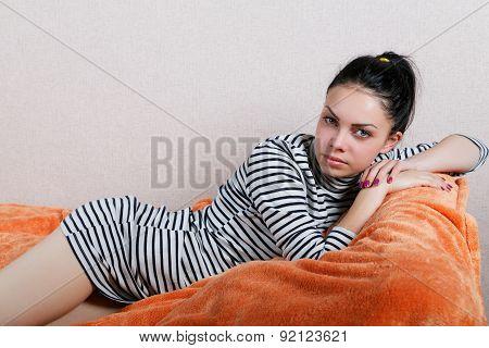 Sexy Girl Lying On The Sofa