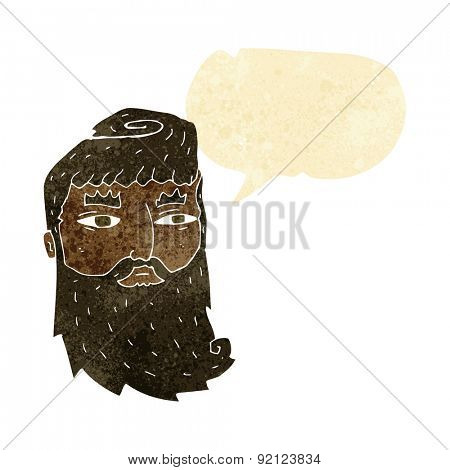 cartoon bearded man with speech bubble