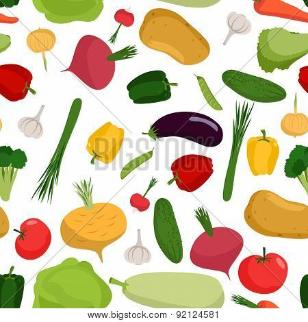 Vegetables seamless pattern. Vector background of tomatoes and cucumbers. Vegetables from garden