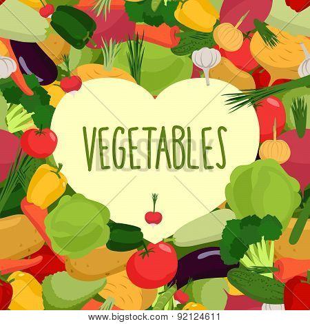 Heart of vegetables. I love vegetables. Concept of a healthy diet. Vector illustration