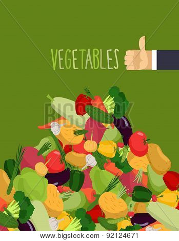 Bunch of fresh vegetables. Turnips and squash. Hand with the thumb up a favorable gesture. Proper nu