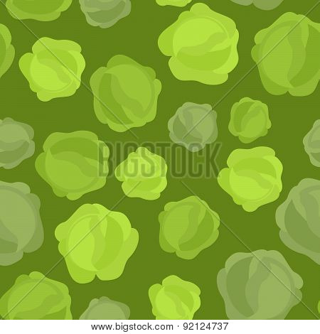 Background of green cabbage. Vector seamless pattern of vegetables. Vector texture
