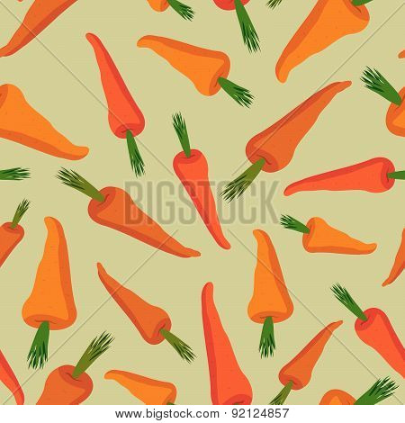 Carrot pattern. Seamless background with orange carrots. Vector texture