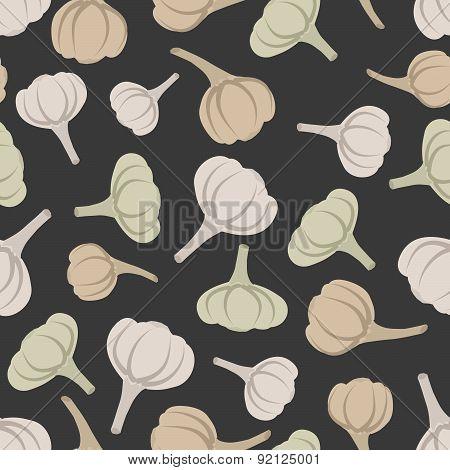 Garlic seamless pattern. Vector background garlic vegetable