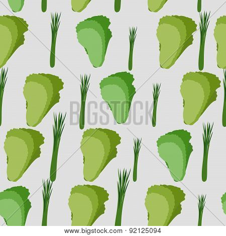 Background of green leaf lettuce. Vector seamless pattern of vegetables. Vector texture