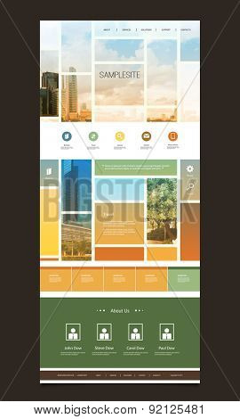 One Page Website Template with Blurred Background - Mosaics