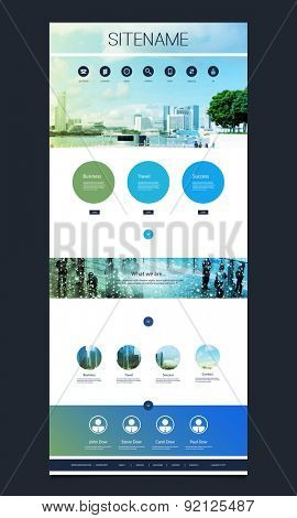 One Page Website Template with Singapore Skyline Header Design