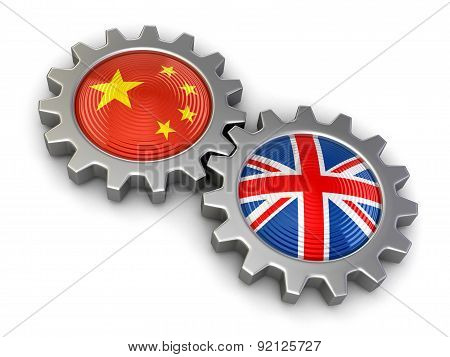 Chinese and UK flags on a gears (clipping path included)