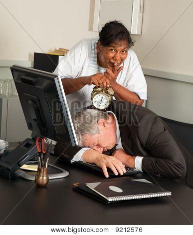 Office Manager Fallen Asleep