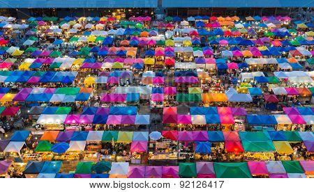 Aerial view of colourful Bangkok free market Thailand