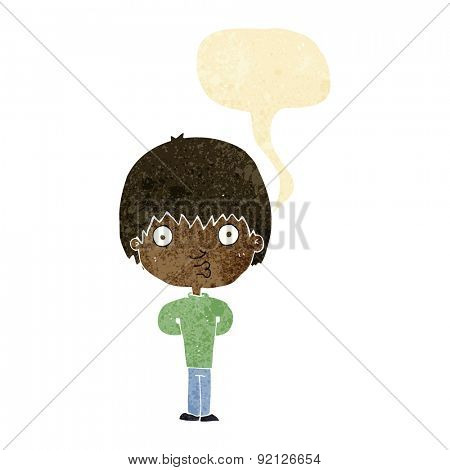 cartoon whistling boy with speech bubble