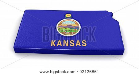 Map of Kansas state with flag