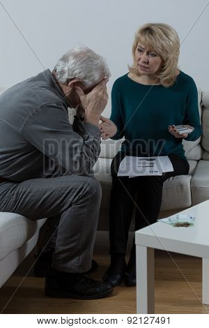 Old Couple And Financial Problems