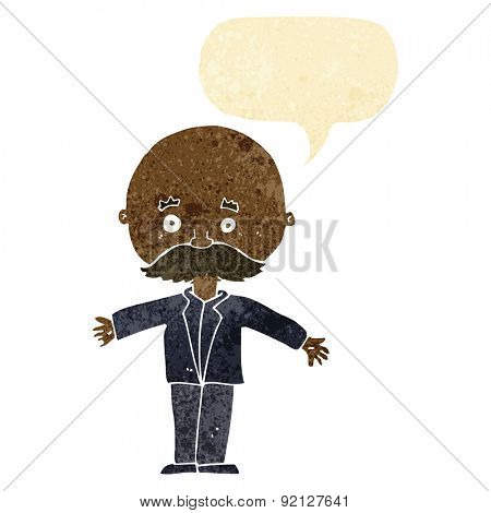 cartoon bald man with open arms with speech bubble