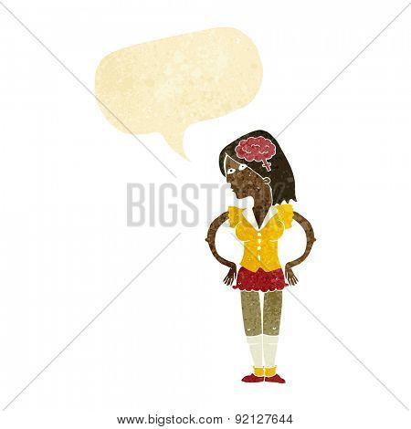 cartoon intelligent woman with speech bubble