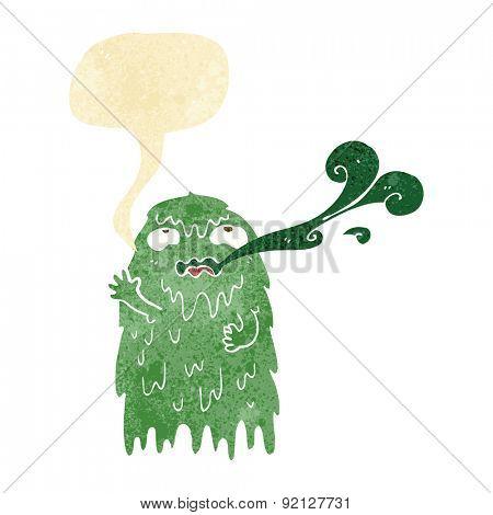 gross cartoon ghost with speech bubble