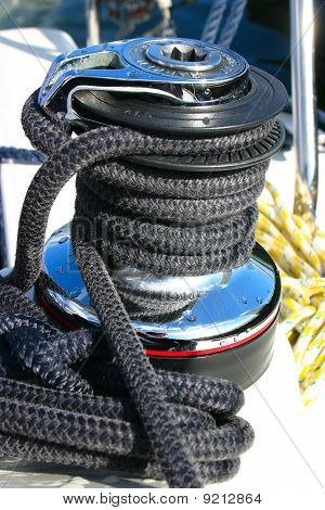 Winch With Black Rope