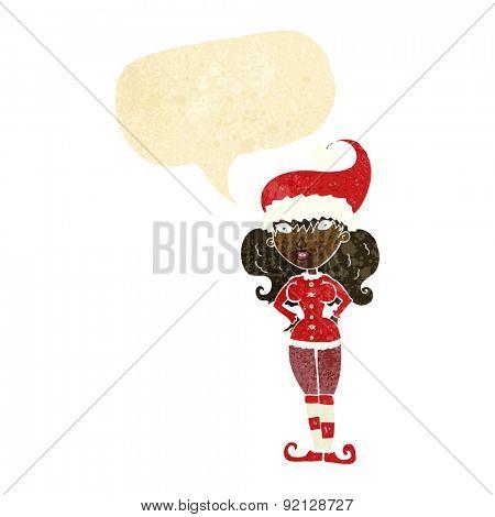 cartoon santa's helper woman with speech bubble