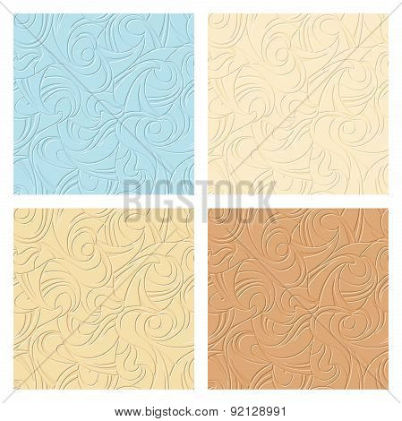 Set of abstract seamless patterns. Vector illustration.