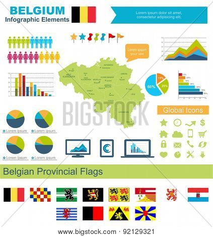 Belgium Infographic Elements  Include:High detailed map of Belgium and complete provincial flags