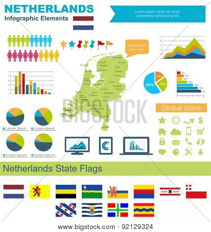 Netherlands Infographic Elements Include:High detailed map of Netherland and complete provincial flags