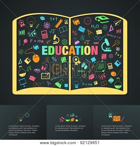 Flat Linear Infographic Of Education Academic Text Book From Many Subject Such As Maths, Science, Ar