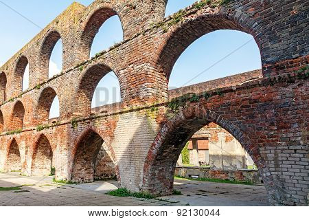 Arches In A Ruin Of A Monastery Building Of Red Brick,  Northern Germany