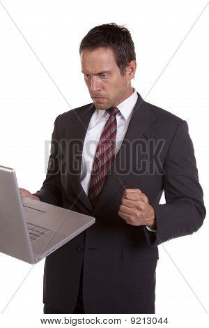 Man With Fist And Laptop