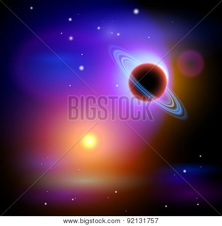 Magic Space - Black Planet & Yellow Star, stars and constellations, nebulae and galaxies, lights. Vector illustration / Eps10