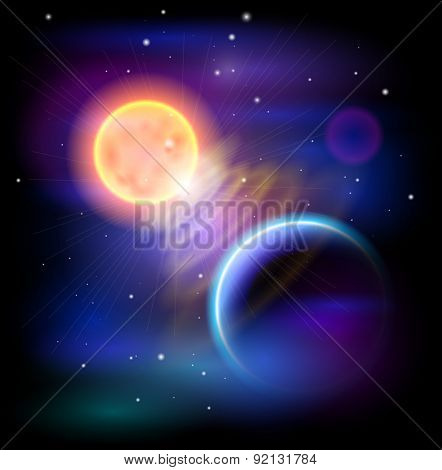 Magic Space - Sun & Blue planet, stars and constellations, nebulae and galaxies, lights. Vector illustration / Eps10