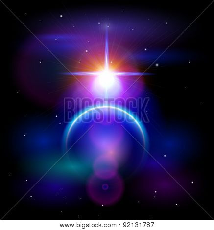 Magic Space - Blue Planet & Big Star, stars and constellations, nebulae and galaxies, lights. Vector illustration / Eps10