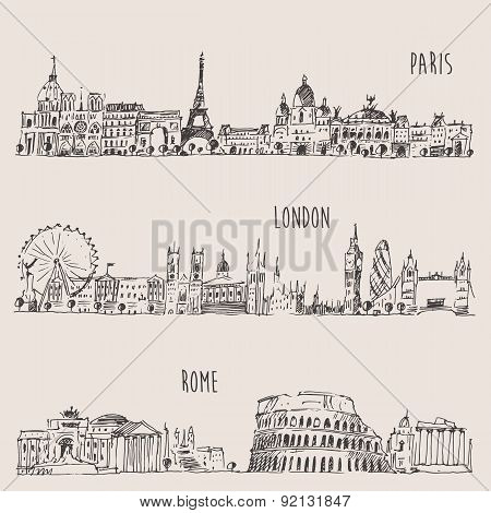 City Set London, Paris, Rome Engraved Illustration
