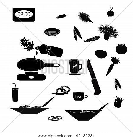 Set of black silhouettes of food and kitchen utensils on isolated background