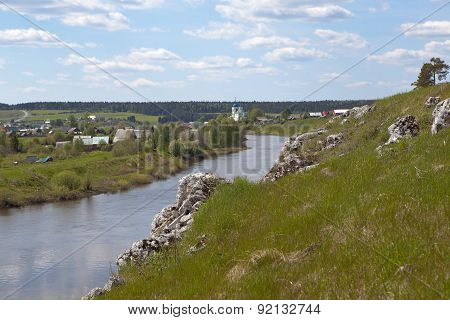Rocky river Chusovaya in the village of Sloboda. Sverdlovsk region.