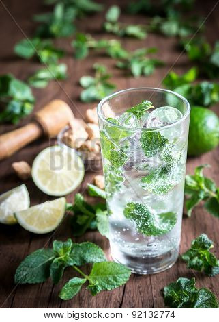Glass Of Mojito With Ingredients