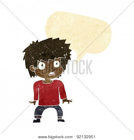 cartoon frightened boy with speech bubble