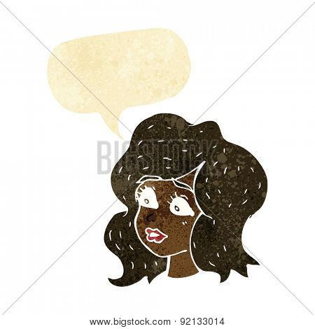 cartoon woman looking concerned with speech bubble