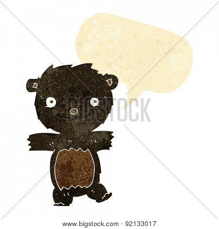 cartoon black bear cub with speech bubble